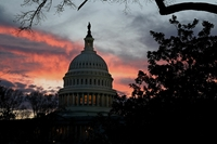 The U.S. Capitol is pictured with the sun setting on Dec. 30, 2020 in Washington, D.C.  Washington Post photo by Katherine Frey