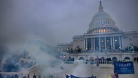 Tear gas is fired at supporters of President Donald Trump who stormed the U.S. Capitol on Jan. 6, 2021. MUST CREDIT: Photo for The Washington Post by Evelyn Hockstein