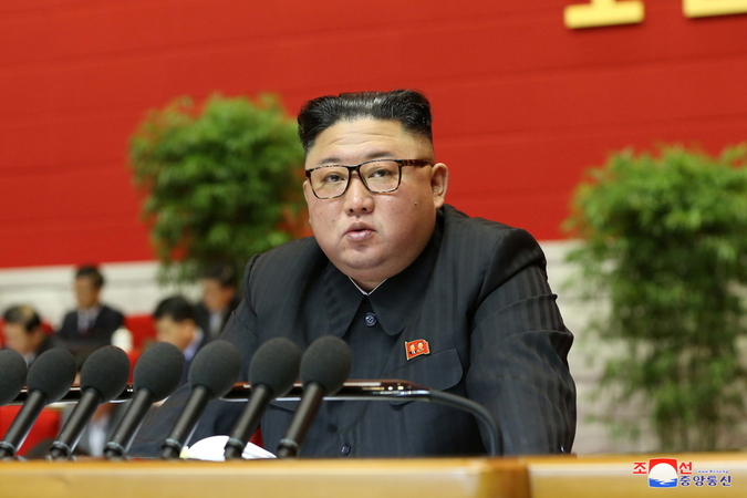 North Korean leader Kim Jong-un speaks during the second day of the eighth congress of the ruling Workers' Party in Pyongyang last Wednesday, in this photo released by the North's official Korean Central News Agency the next day. North Korea has launched the rare party congress, the first in nearly five years, amid expectations Pyongyang will unveil its policy directions on the economy and foreign affairs in the face of stalled denuclearization negotiations. (KCNA-Yonhap)