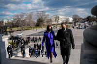 Vice President Kamala Harris and second gentleman Doug Emhoff after the inauguration on Wednesday, Jan. 20, 2021. MUST CREDIT: Washington Post photo by Melina Mara