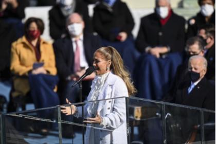 Jennifer Lopez sings before Joe Biden is sworn in as president on Jan. 20. MUST CREDIT: Washington Post photo by Jonathan Newton