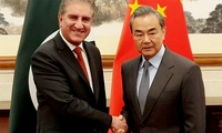 Foreign Minister Shah Mehmood Qureshi and his Chinese counterpart Wang Yi. — Dr Mohammad Faisal/Twitter