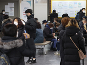 Dozens of people line up to learn about unemployment benefits at an employment assistance center in Mapo-gu, western Seoul, earlier this month. Korea last year suffered its worst job loss in 22 years, as the number of those employed dropped 218,000 from a year earlier to 26.9 million. (Yonhap)