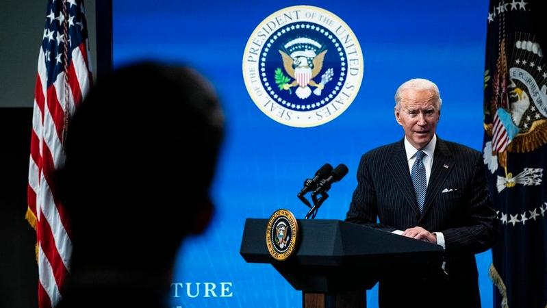 President Joe Biden speaks at a news conference Monday, Jan. 25, 2021. MUST CREDIT: Washington Post photo by Jabin Botsford