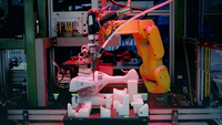 A robot assembles a string trimmer power tool at the Stihl Inc. manufacturing facility in Virginia Beach, Va., on Jan. 11, 2018. MUST CREDIT: Bloomberg photo by Luke Sharrett.