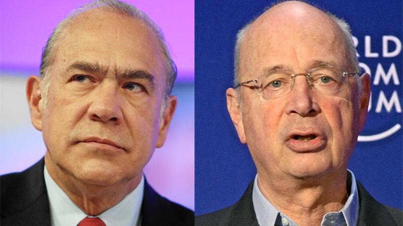 Angel Gurría (left) and Klaus Schwab