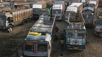 Trucks are parked near a wholesale market in Delhi, India, on Sept. 4, 2020. MUST CREDIT: Bloomberg photo by Anindito Mukherjee.