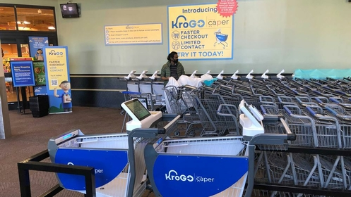 Kroger is testing out 20 smart carts by Caper. MUST CREDIT: Caper.