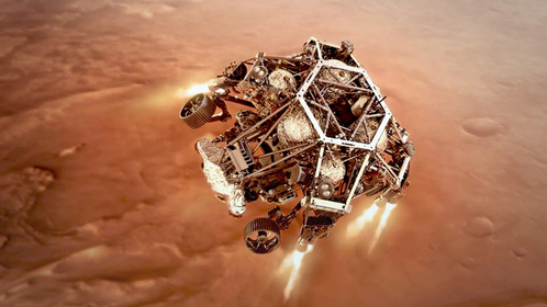 NASA's Perseverance rover fires up its descent stage engines as it nears the Martian surface in this illustration. MUST CREDIT: NASA illustration handout