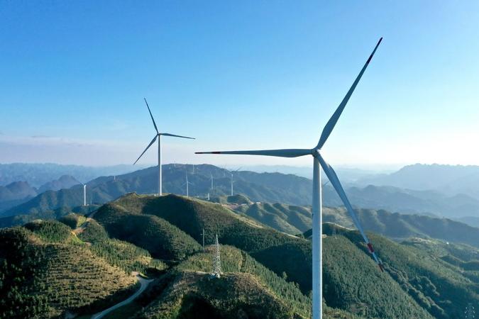 An aerial view of a wind farm in Liuzhou, South China's Guangxi Zhuang autonomous region. [Photo by Tan Kaixing/For China Daily]