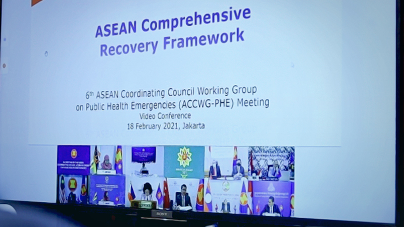 The sixth meeting of the ASEAN Coordinating Council (ACC) Working Group on Public Health Emergencies (ACCWG-PHE) held via teleconference on Thursday. — VNA/VNS Photo