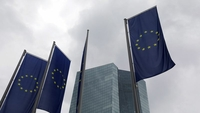 Flags of the European Union (EU) fly outside the European Central Bank (ECB) headquarters in Frankfurt, Germany, on July 16, 2020. MUST CREDIT: Bloomberg photo by Alex Kraus.
