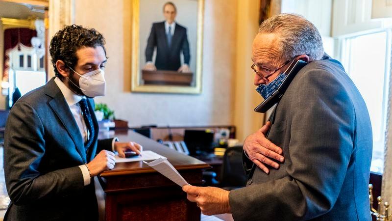 Senate Majority Leader Charles Schumer, D-N,Y., prepares his floor speech before walking to the Senate floor on Jan. 22. MUST CREDIT: Washington Post photo by Melina Mara.