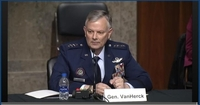 The captured image from the website of US Senate Committee on Armed Services shows Gen. Glen VanHerck, commander of US Northern Command and North American Aerospace Defense Command, testifying at a Senate hearing in Washington on Tuesday. (US Senate Committee on Armed Services)