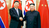 Chinese President Xi Jinping (L) shakes hands with North Korean leader Kim Jong-un prior to their summit talks in Pyongyang on June 20, 2019, in this photo released by the North's official Korean Central News Agency. (KCNA-Yonhap)