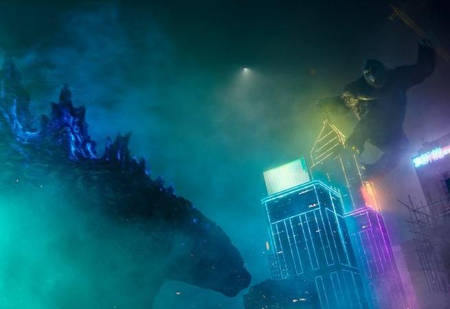 Godzilla, left, battles King Kong in