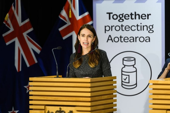 New Zealand Prime Minister Jacinda Ardern announces the upcoming restoration of unrestricted, two-way travel between neighbor Australia for the first time since the pandemic forced them to close their international borders more than a year ago. Ardern is photographed during a news conference in Wellington on April 6, 2021. MUST CREDIT: Bloomberg photo by Mark Coote