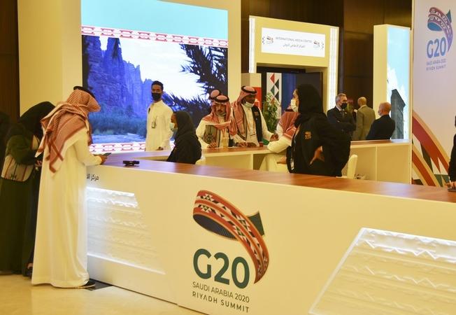 File photo taken on Nov 19, 2020 shows the media center of the Group of 20 (G20) in Riyadh, Saudi Arabia. [Photo/Xinhua]