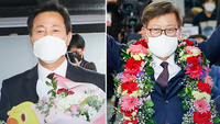 New Seoul Mayor Oh Se-hoon and Busan Mayor Park Hyung-joon (Yonhap)