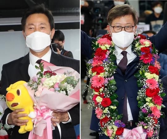 New Seoul Mayor Oh Se-hoon and Busan Mayor Park Hyung-joon (Yonhap)