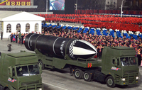 "The Pukguksong-5-siot, a submarine-launched ballistic missile, is seen at the military parade in Pyongyang, North Korea, Jan. 14, 2021. The Korean letter ""siot"" means sea-based. (KCNA-Yonhap)