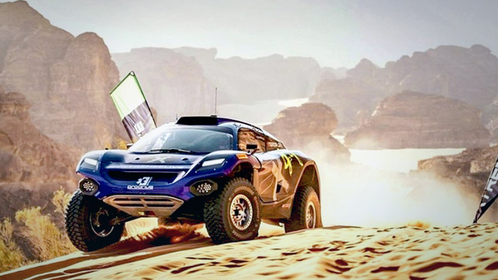 An only-electric vehicle runs in the desert in Saudi Arabia as Extreme E, an off-road endurance racing series of electric vehicles, started on April 3. (Courtesy of the Extreme E organizer)