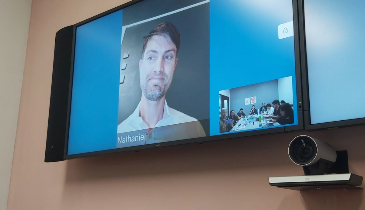 Facebook's head cybersecurity Nathaniel Gleicher during the live video conference: Photo by Thasong Asvasena