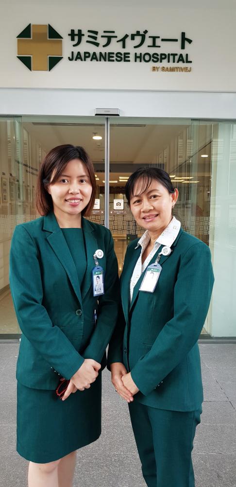 The two assistant department managers of the Japanese Service Centre  at Samitvej Hospital Sukhumvit Siriporn Singhajindawong, right, andPiyawadee Artnonla.