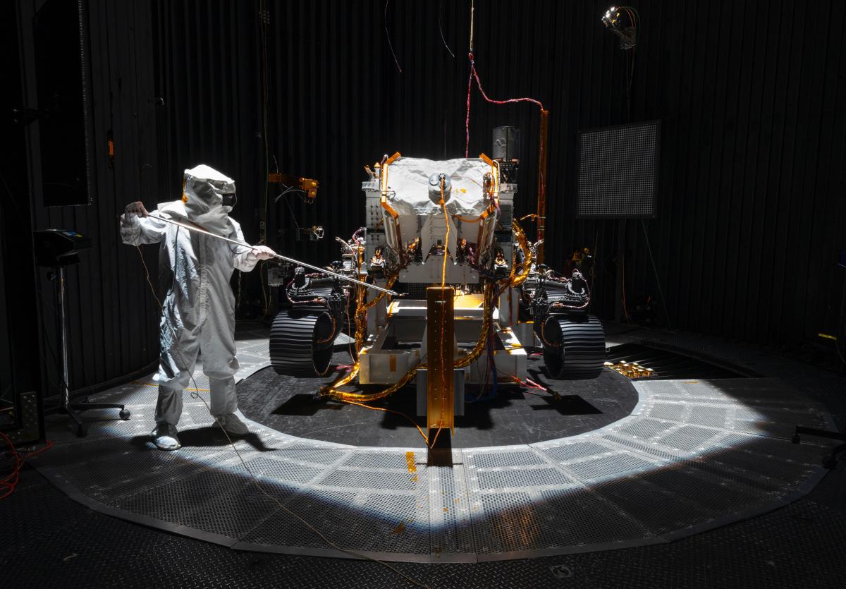 An engineer conducts tests on NASA's Mars 2020 rover. CREDIT: NASA/JPL-Caltech Photo by: NASA/JPL-Caltech — NASA/JPL-Caltech