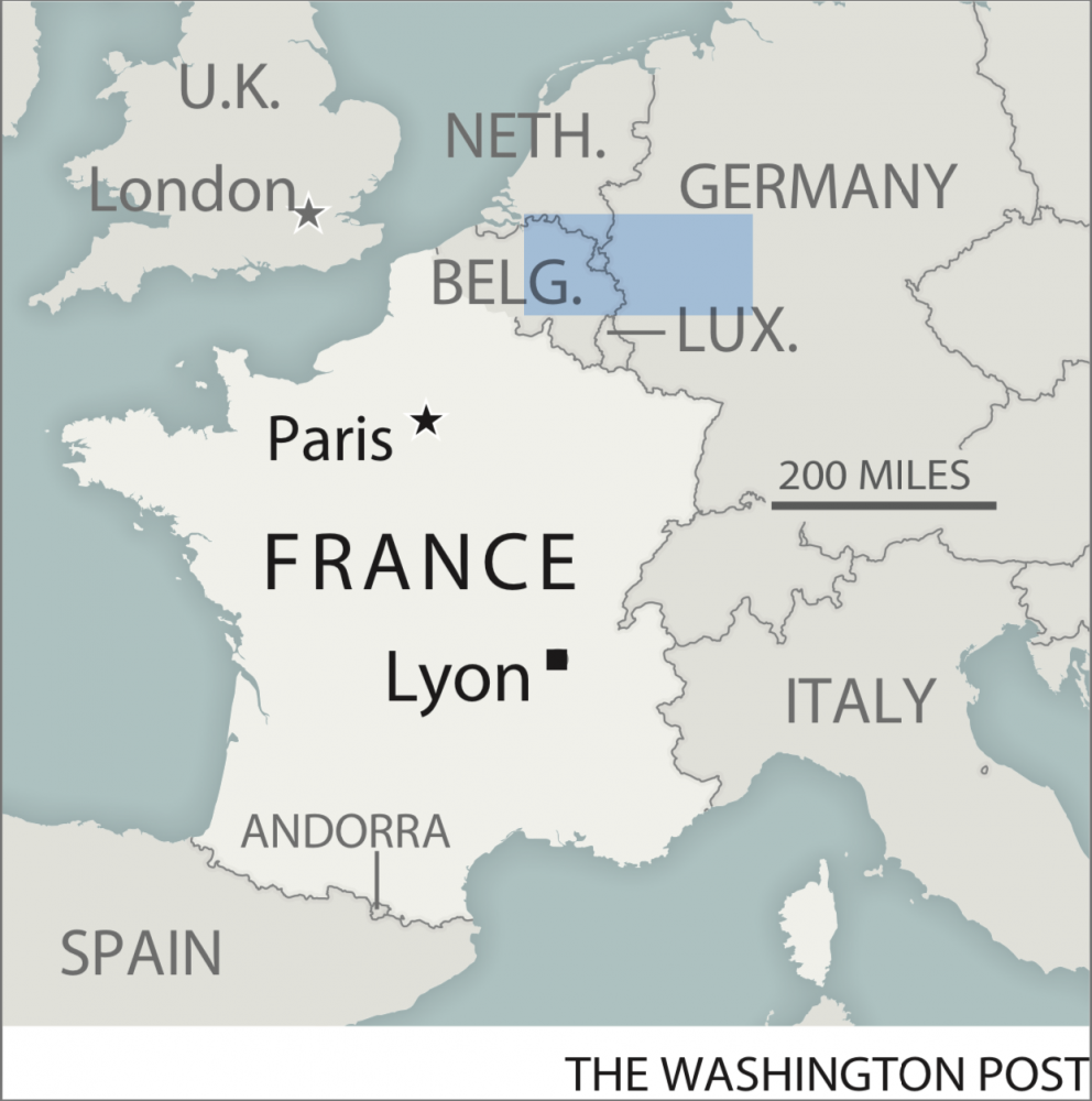 A map locating Lyon, France Photo by: The Washington Post — The Washington Post