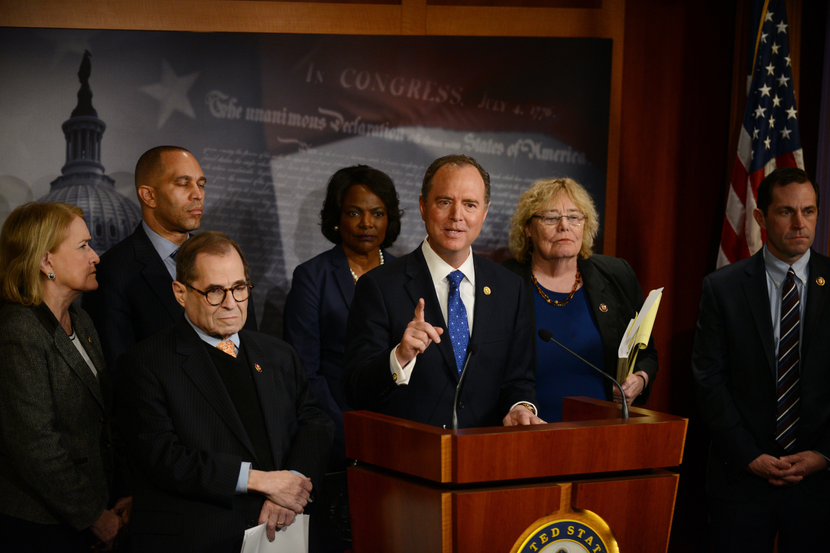 Lead House impeachment manager Adam Schiff, D-Calif., and other impeachment officials hold a news conference at the end of the fifth day of the Senate impeachment trial of President Donald Trump on Saturday, Jan. 25, 2020. MUST CREDIT: Photo for The Washington Post by Astrid Riecken