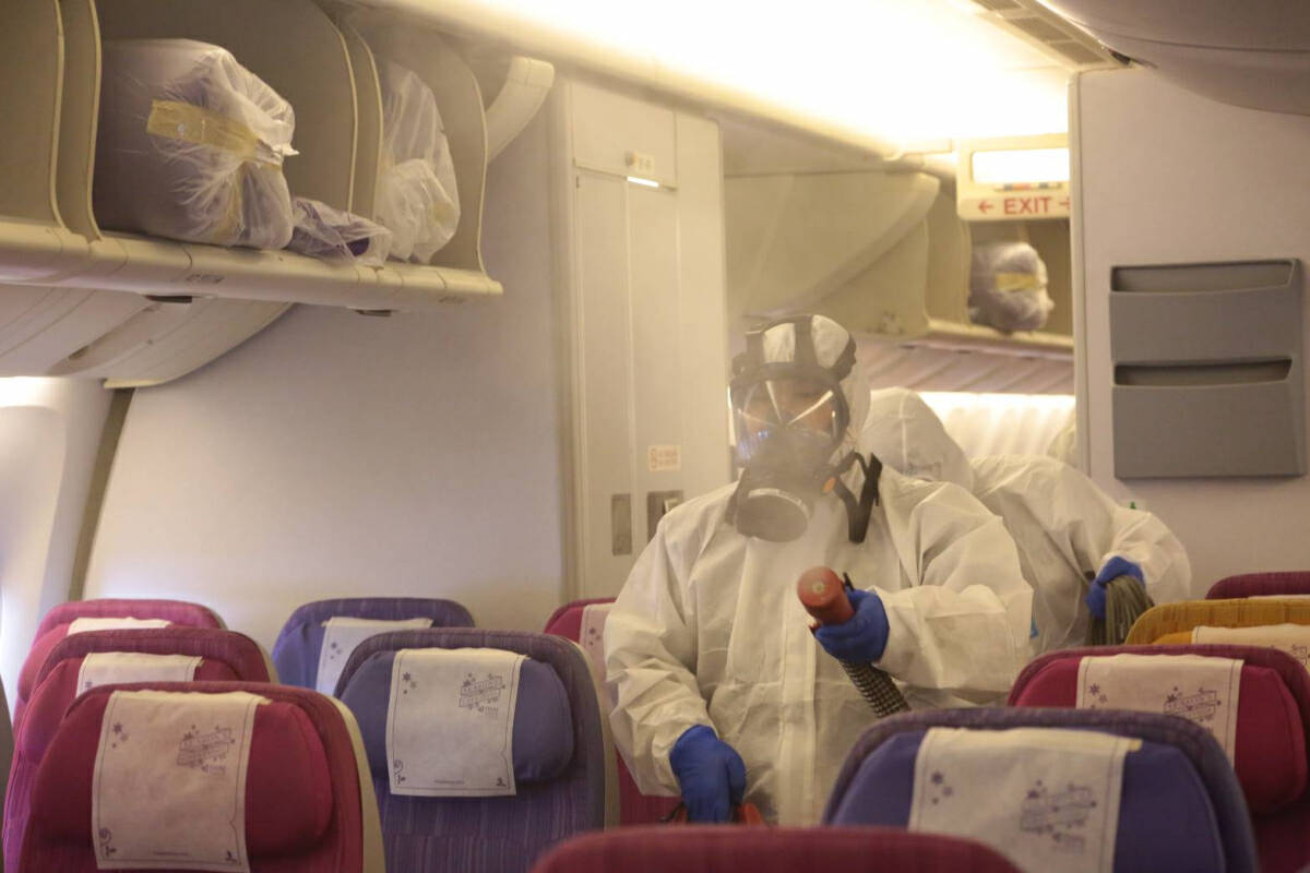 Disinfectants to be sprayed in THAI planes arriving from China