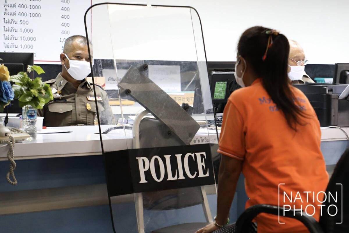 Police station deploys anti-riot shields for virus prevention