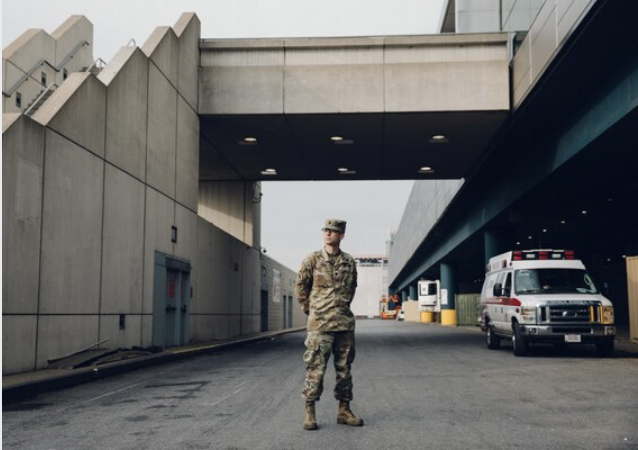 Lt. Col. Guy Travis Clifton, an Army doctor assigned to the field hospital at Javits, teamed with Joseph Lieber to transfer about 70 patients out of Elmhurst. MUST CREDIT: Photo by Celeste Sloman for The Washington Post