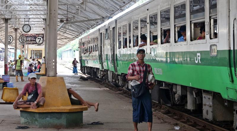 Second hand Japanese rail cars in operation on Yangon's circular line. SIN CHEW DAILY