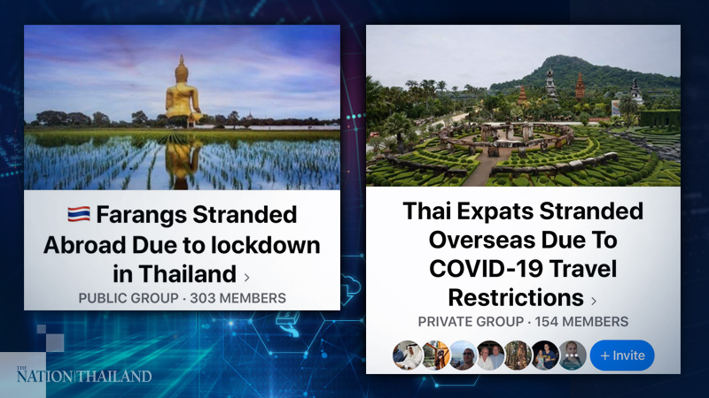 Foreign nationals married to Thais have created two Facebook groups – Thai Expats Stranded Overseas due to Covid-19 Travel Restrictions and Farangs Stranded Abroad due to Lockdown in Thailand – to share information as part of their efforts to reunite families.