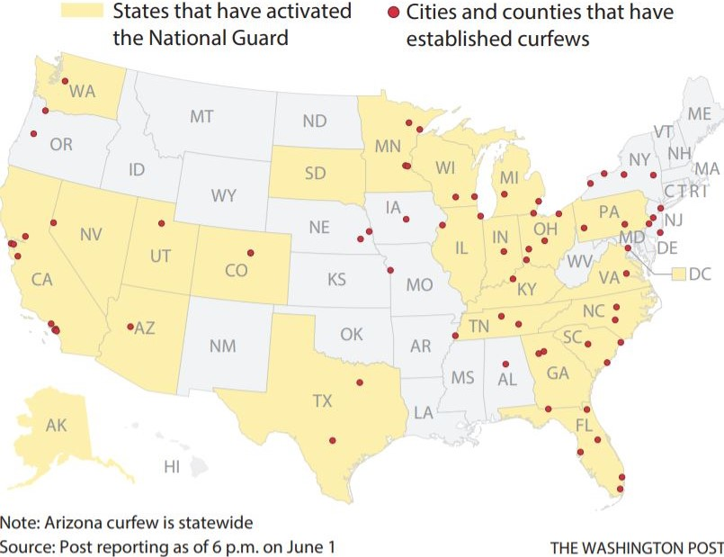 A map of National Guard activations and established curfews across the U.S.