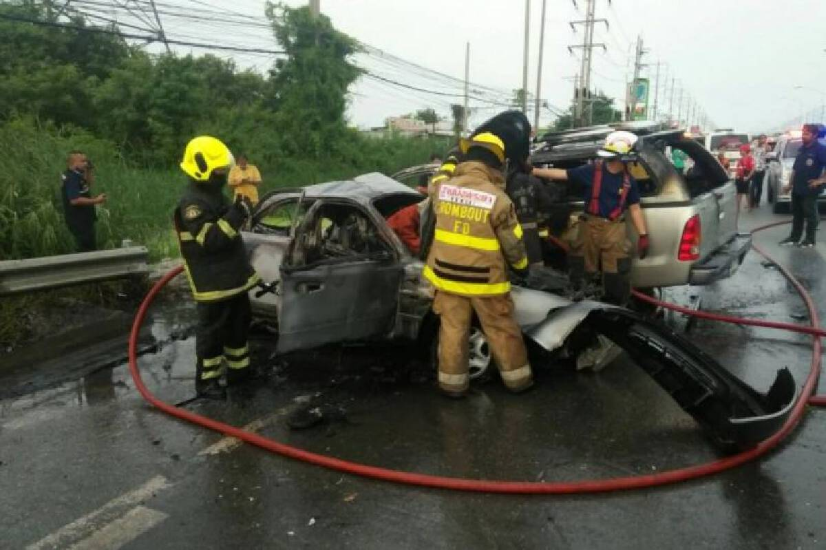 Man killed in fiery road accident in Bangkok's Nong Jok district