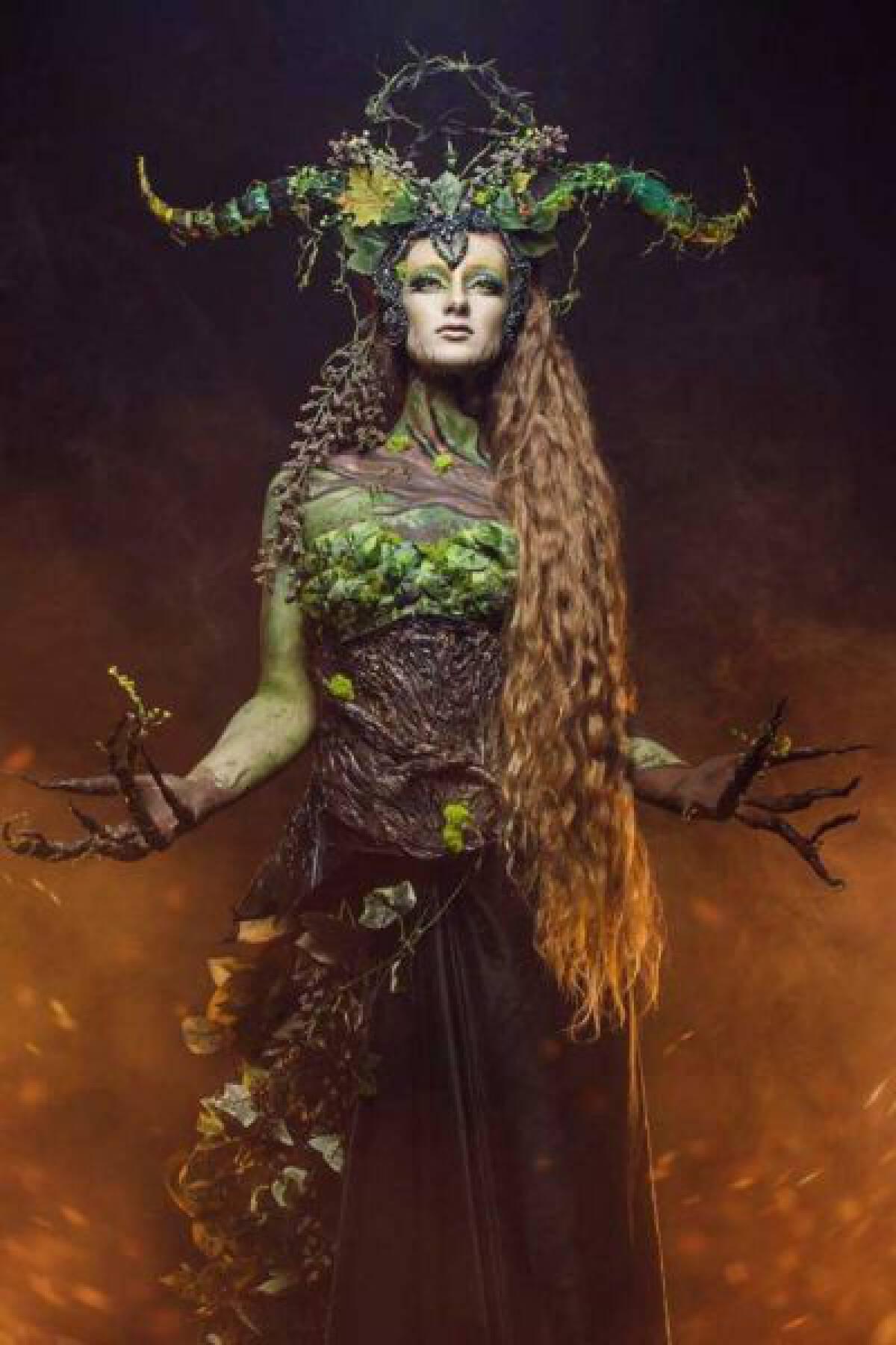 Model Sidney Rubinoe posing in her Mother Earth costume and makeup. Courtesy of Dillon Morningstar