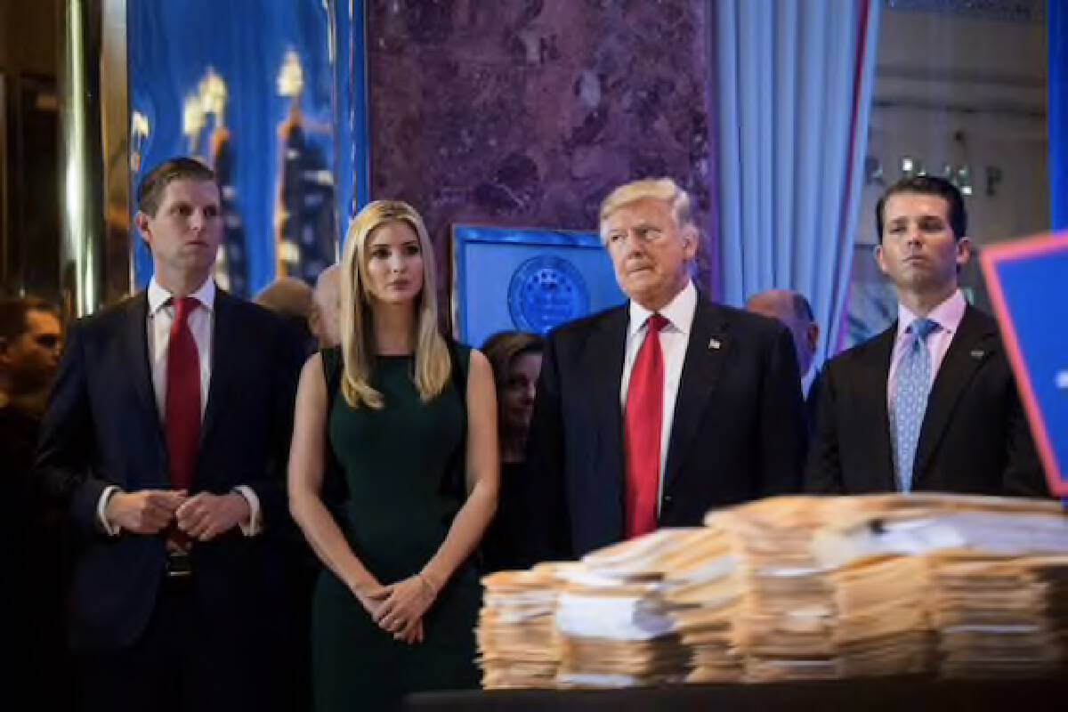 President-elect Trump and three of his children listen during a news conference at Trump Tower in New York in January 2017. MUST CREDIT: Washington Post photo by Jabin Botsford.