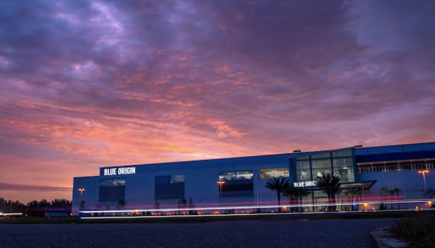 The Blue Origin rocket manufacturing facility at Kennedy Space Center's Exploration Park. MUST CREDIT: Washington Post photo by Jonathan Newton.
