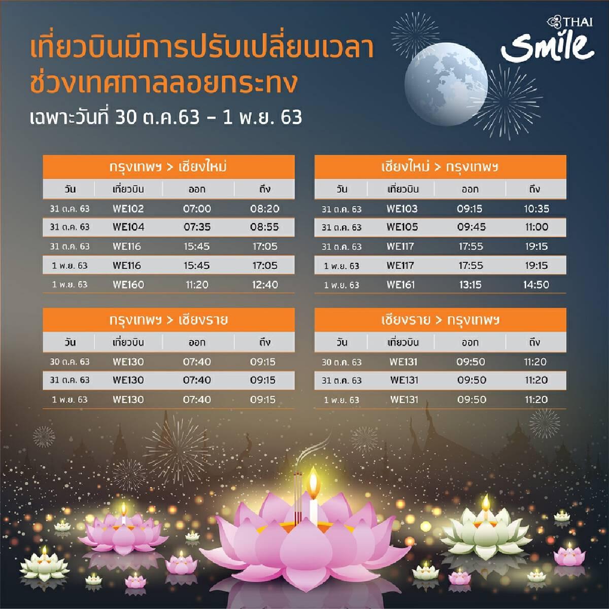 THAI Smile adjusts flights to avoid lanterns