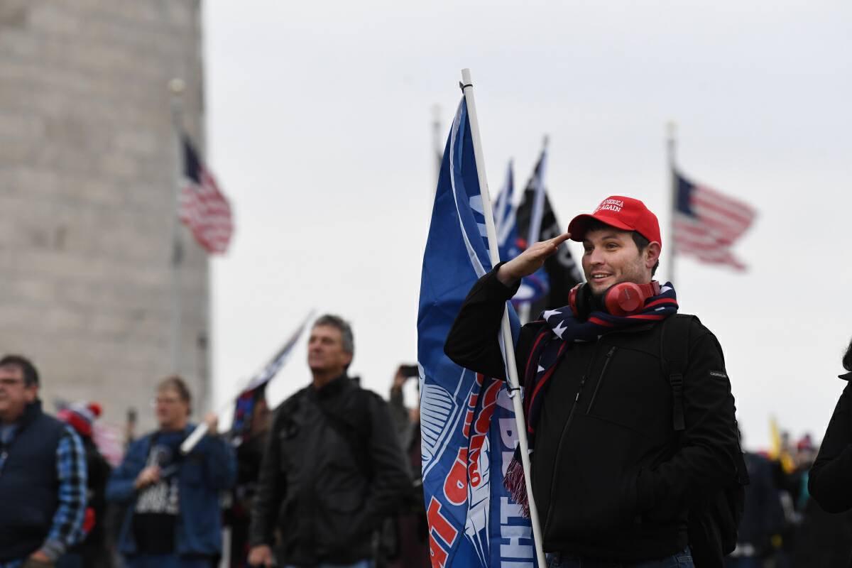 Supporters of President Donald Trump gather near the Washington Monument on Wednesday. MUST CREDIT: Washington Post photo by Matt McClain