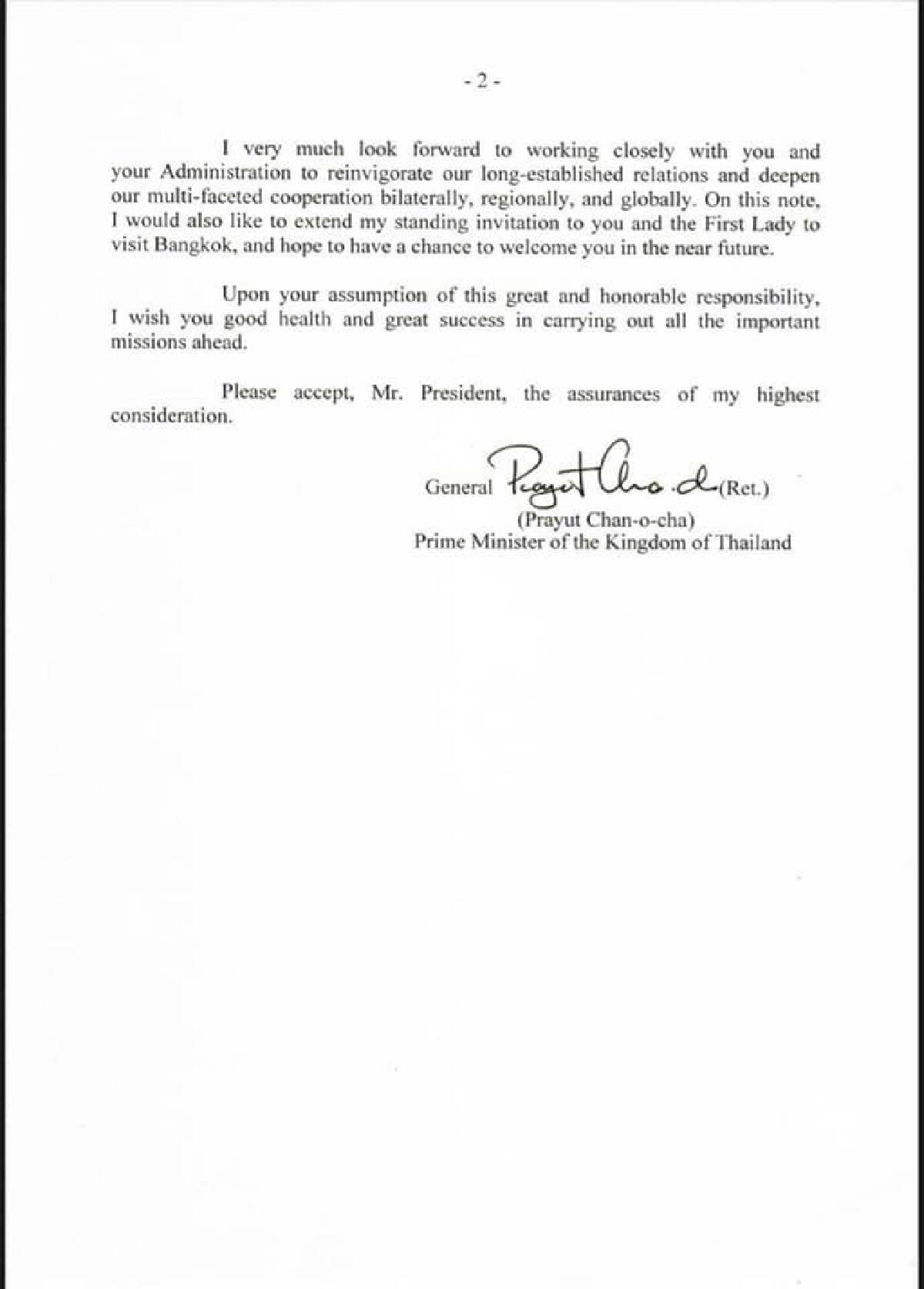 Prayut congratulates Biden on inauguration, calls for global unity