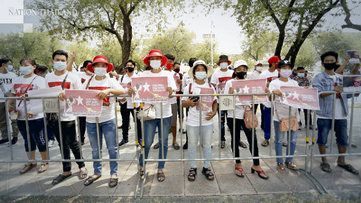 Myanmar citizens in Thailand protest coup at home