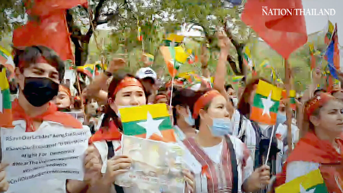 Myanmar workers in Thailand protest against coup in their homeland