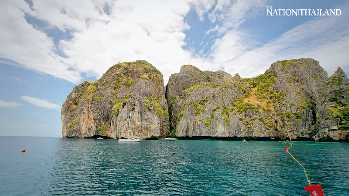 Red fishing buoys guard Maya Bay to prevent boats from entering during its two-year rehabilitation programme.