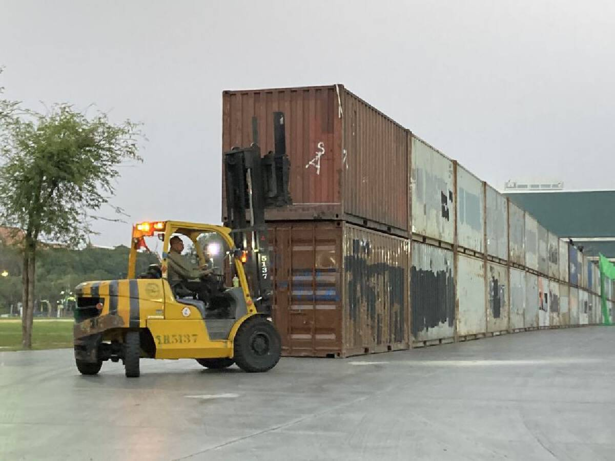 Container wall built around Sanam Luang in anticipation of pro-democracy protests