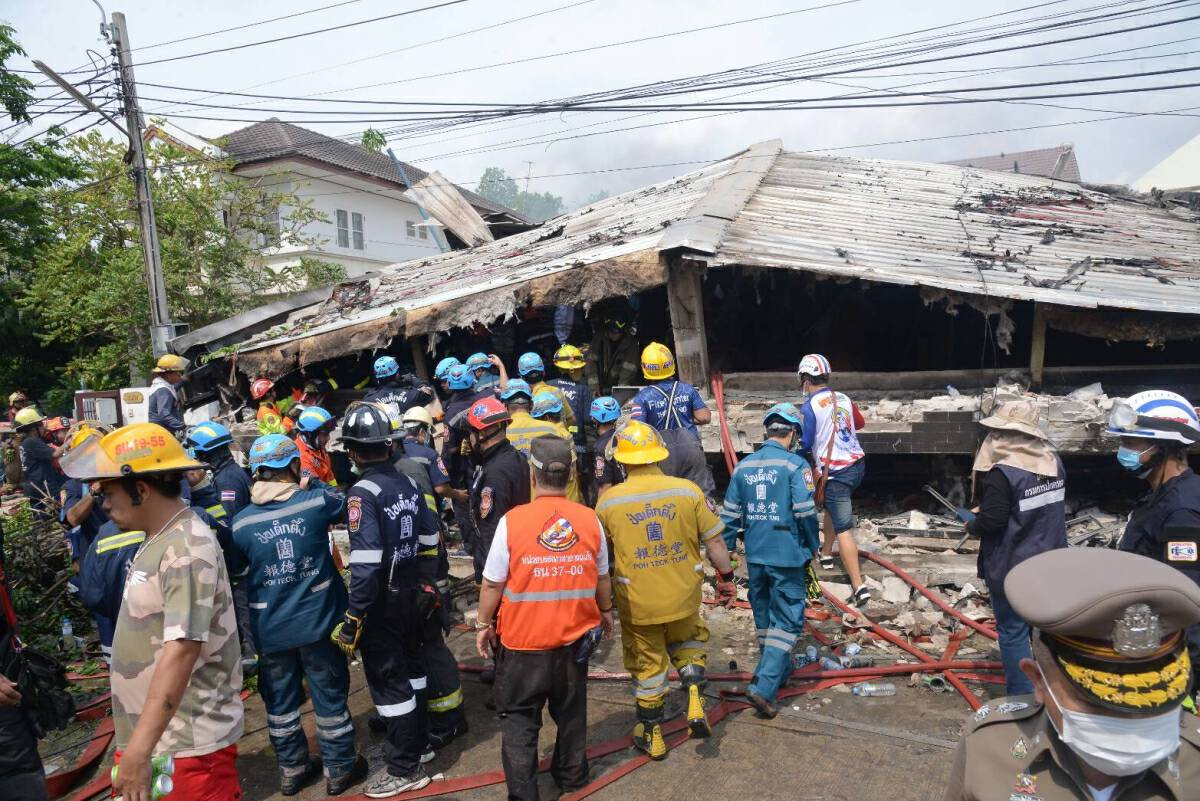 Four rescuers among five killed in building collapse in Bangkok