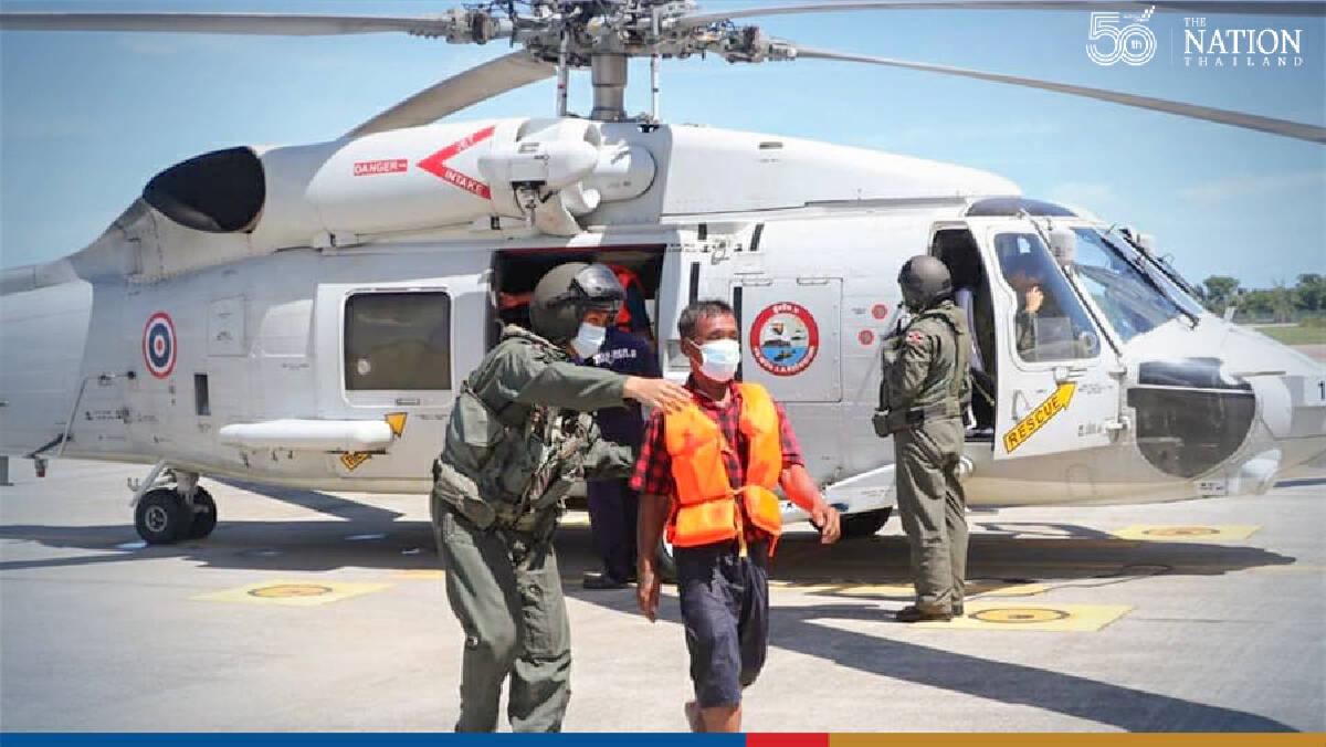 Navy chopper plucks 8 men from sea after fishing boat sinks